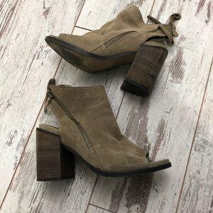 Dolce Vita Gray suede peep toe booties chunky heel
